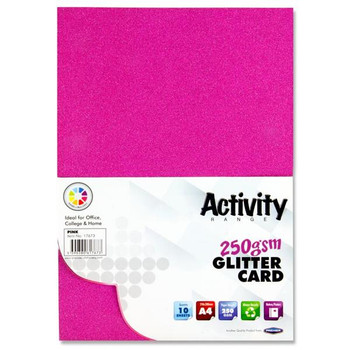 Pack of 10 Sheets A4 Pink 250gsm Glitter Card by Premier Activity