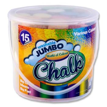 Bucket of 15 Jumbo Coloured Sidewalk Chalk by World of Colour