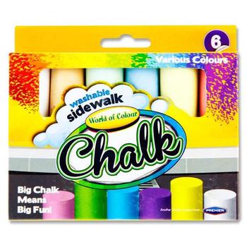 Box of 6 Jumbo Coloured Sidewalk Chalk by World of Colour
