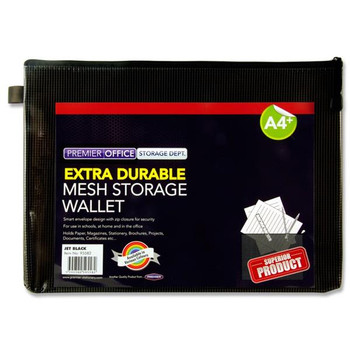 A4+ Extra Durable Jet Black Mesh Expanding Wallet
