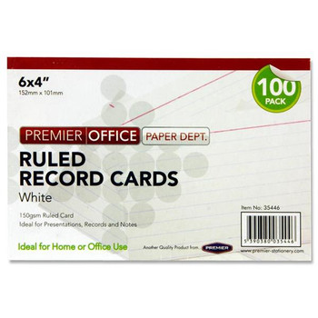 "Pack of 100 6""x4"" Ruled White Record Cards by Premier Office"