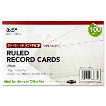 "Pack of 100 8""x5"" Ruled White Record Cards by Premier Office"