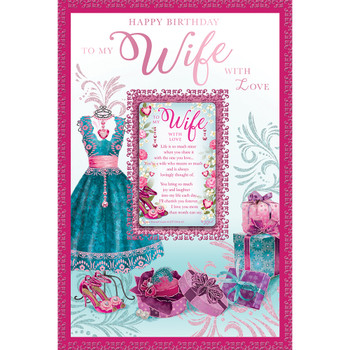Happy Birthday To My Wife With Love Keepsake Treasures Greeting Card
