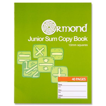 40 Pages 10mm Squares Junior Sum Copy Book by Ormond