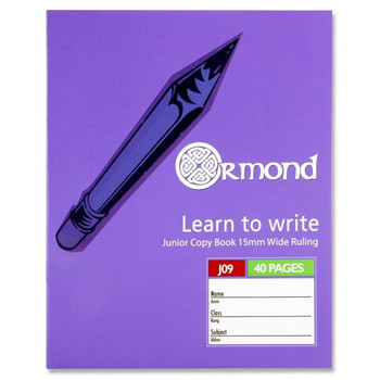 40 Pages J09 Junior Learn to Write Copy Book by Ormond