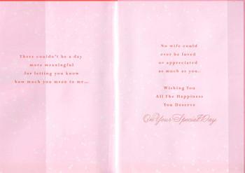 Hallmark  A Thank You to My Wife Birthday Card