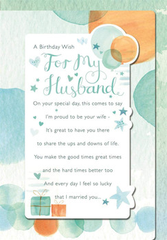 A Birthday Wish for My Husband with Hearts and Stars Design