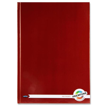 A4 160 Pages Rhubarb Red Hardcover Notebook by Premto