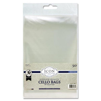 "Pack of 50 5""x7"" Self Seal Cello Bags by Icon Occasions"