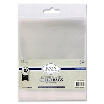 "Pack of 50 5""x5"" Self Seal Cello Bags by Icon Occasions"