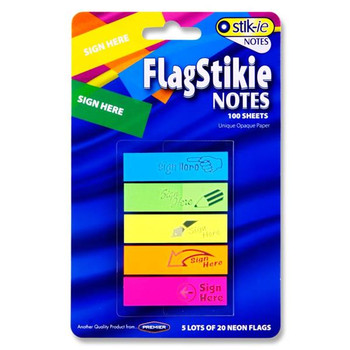 Pack of 100 Sign Here Flag Page Sticky Markers Sheets by Stik-ie