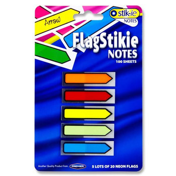 Pack of 100 Flag Index Arrows Page Markers Sticky Notes Sheets by Stik-ie