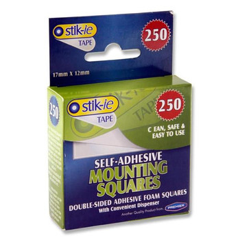 Box of 250 Adhesive 17x12mm Mounting Squares by Stik-ie