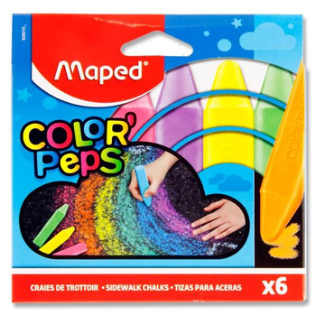 Box of 6 Color'peps Squared Sidewalk Chalks by Maped