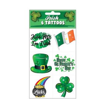 Pack of 6 Irish St. Patrick's Day 5x5cm Temporary Tattoos
