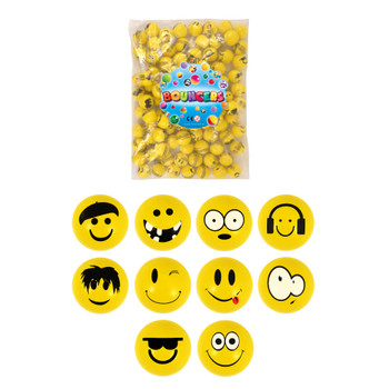 Bag of 100 3.3cm Smiley Face Bouncy Balls