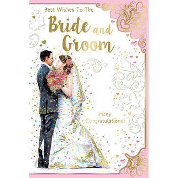 Best Wishes To The Bride and Groom Many Congratulations Celebrity Style Greeting Card