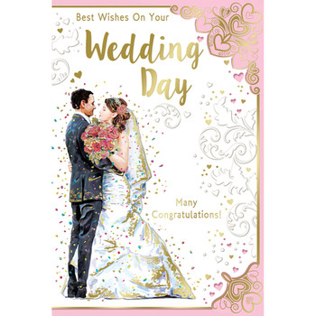 Best Wishes On Your Wedding Day Many Congratulations Open Celebrity Style Greeting Card