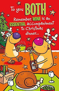 To you Both Humour Christmas Wine Accompaniment Both of You Card