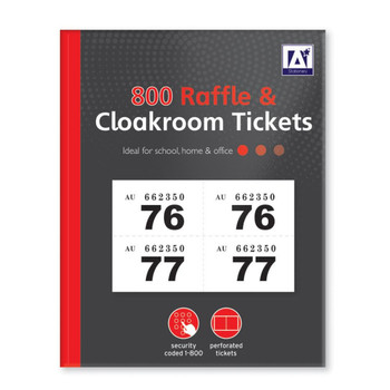 1 to 800 Raffle and Clockroom Tickets