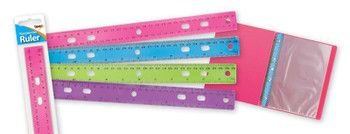 30cm Ring Binder Ruler Assorted Colours