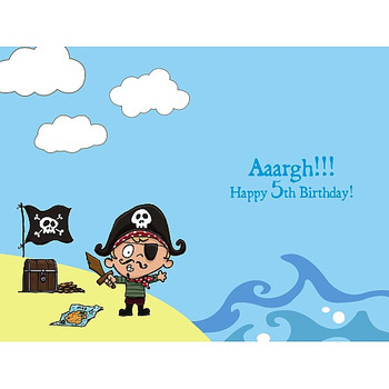 5th Birthday Card for Boy with Pirate Age 5