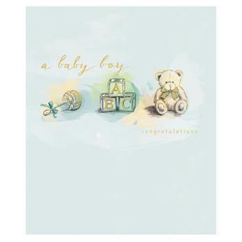 A Baby Boy Cute Teddy Congratulations Card