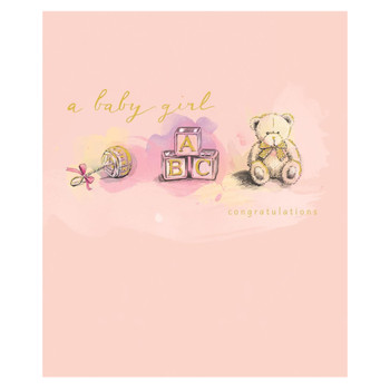 A Baby Girl Cute Teddy Congratulations Card