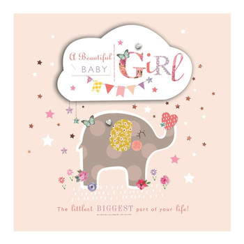 A Beautiful New Baby Girl Foil Finish Cute Design Congratulations Card