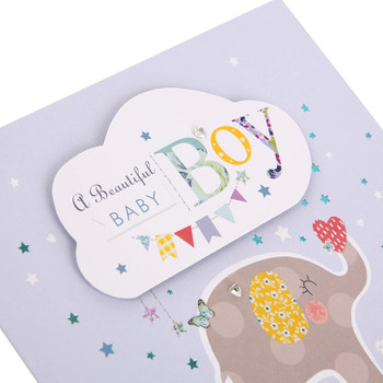 A Beautiful New Baby Boy Foil Finish Cute Design Congratulations Card