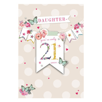 Age 21st Daughter Bunting Design Birthday Card