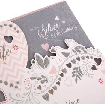 25th Glitter Finished Wife Silver Anniversary Card