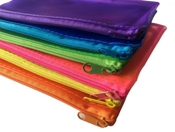 "6 x Assorted Frosted Colour 8x5"" Pencil Cases - See Through Exam Clear Translucent"