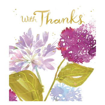 Foil Finished Flowers Design Thank You Card