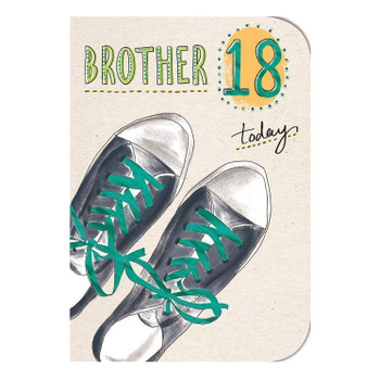 18 Today Sneakers Design Brother Birthday Card