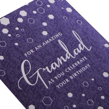 Birthday Card for Grandad Contemporary Textured Foil Design