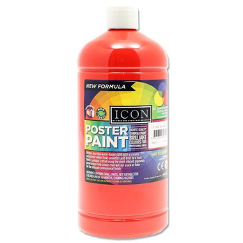 1 Litre Scarlet Red Poster Paint by Icon Art