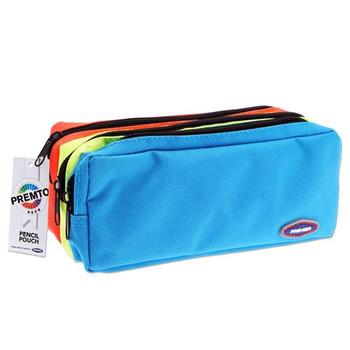 3 Pocket Neon Coloured Zip Pencil Case by Premto