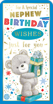 For a Special Nephew Teddy Design Birthday Luxury Gift Money Wallet Card