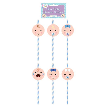 Pack of 6 Assorted Design Blue Baby Shower Paper Straws