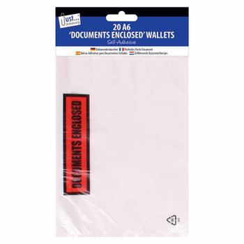 Pack of 20 A6 'Documents Enclosed' Self Adhesive Clear Plastic Wallets