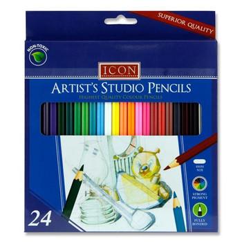 Box of 24 Artists Studio Colour Pencils by Icon Art
