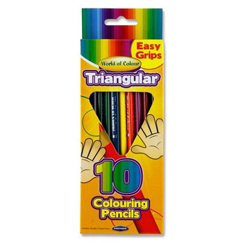 Box of 10 Triangular Junior Easy Grip Colouring Pencils by World of Colour
