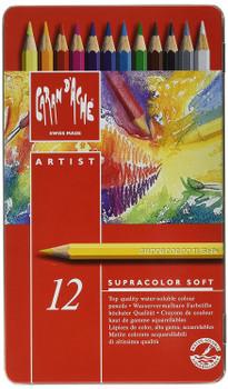 Caran d'Ache 12 Supracolor Soft Aquarelle Colouring Pencils in Metal Tin