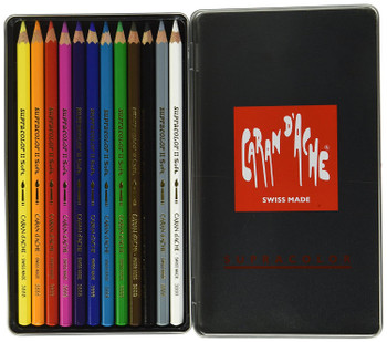 Caran d'Ache 12 Supracolor Soft Aquarelle Colouring Pencils in Metal Tin
