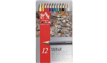 Caran d'Ache 12 Pablo Assorted Colour Pencils in Metal Tin