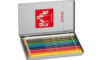 Caran d'Ache 12 Pablo Assorted Colour Pencils in Metal Tin