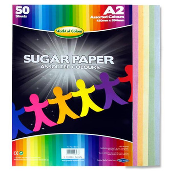 Pack of 50 A2 Coloured Sugar Paper Sheets by World of Colour