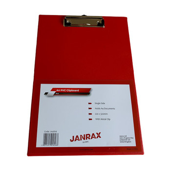 Pack of 12 Janrax A4 Red PVC Single Clipboards