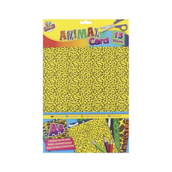 Pack of 15 A4 Assorted Animal Print Card Sheets